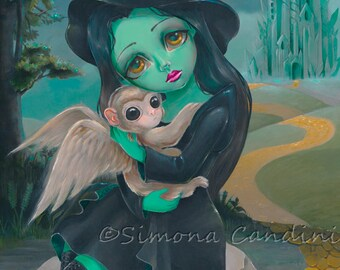 Elphaba SIGNED PRINT Simona Candini Fantasy Fairytale Fairy Big Eyes Art Wicked Wizard Of Oz Monkey Fairy Tales Illustration