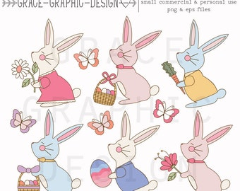 Easter Bunny Clipart, Hand Drawn Rabbit Clipart, Easter Clipart, Small Commercial Use Clipart, Digital Download