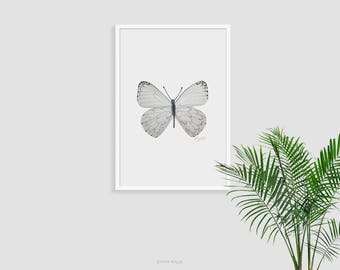 Printable Wall Art Butterfly Print Pencil Drawing Fine Prints Modern