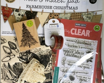 Canvas Corp. mix and match Farmhouse Christmas paper/fabric pad kit, 16 pages, Hero Arts stamps, Little B washi, and coordinating lace