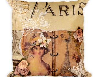 Paris Postcard Square Pillow