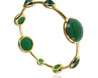 Green Onyx Bangle - Stackable Bangles - Gemstone Bangles - Gemstone Bracelet - Gold Bangles - Birthstone Bangles - Birthstone Bracelet