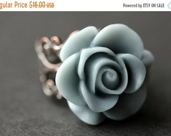 MOTHERS DAY SALE Gray Blue Rose Ring. Blue Grey Flower Ring. Gold Ring. Silver Ring. Bronze Ring. Copper Ring. Adjustable Ring. Handmade Jew