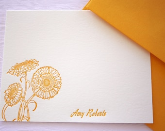 Personalized Marigold Letterpress Stationery Honey Gold Flowers