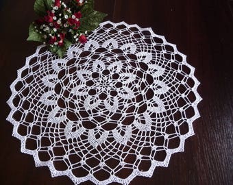 Crochet doily handmade white cotton.