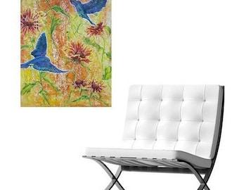Large Bluebird flower abstract original oil painting, wall decor, home decor, blanketflower art, flower canvas painting, garden art
