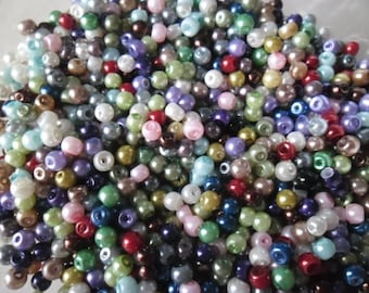 x 50 mixed multicolor 4 mm glass round beads