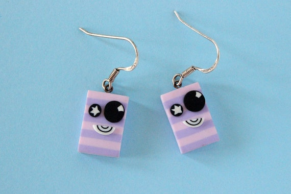Little monsters earrings, polymer clay and sterling silver - OOAK - one of a kind