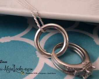 AloraLocks THE ORIGINAL Infinity Circle Plain Wedding / Engagement Ring Holder / Holding Pendant - Sterling Silver  18mm, 20mm, or 24mm