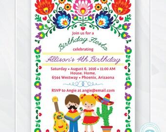 Kids Fiesta Birthday Invitation, Children's Mexican Fiesta Invite, Fiesta Birthday Invite, Cinco de Mayo Kids Party, Printable #0208