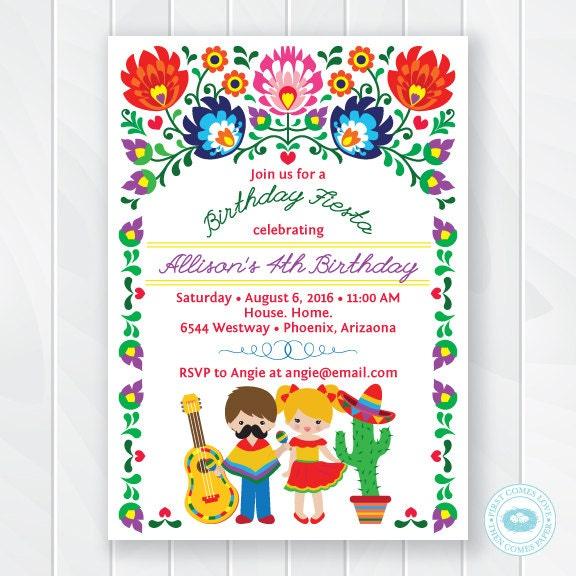 kids fiesta birthday invitation children u0026 39 s mexican fiesta