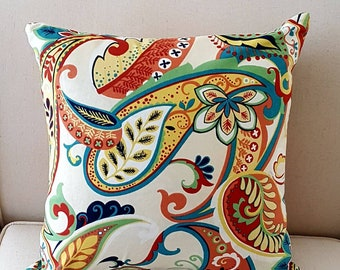 Paisley Print Covington Whimsy Multi Color Decorative Indoor Pillow Cover with Solid Backing Fabric and Hidden Zipper