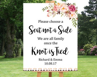 Boho Tribal Choose a Seat Not a Side Printable Sign, Personalised Pink Floral Seating Wedding Sign Boho Wedding Ceremony Sign Download 109-W