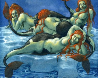 Arctic Mermaids - satirical fantasy art print by Nancy Farmer