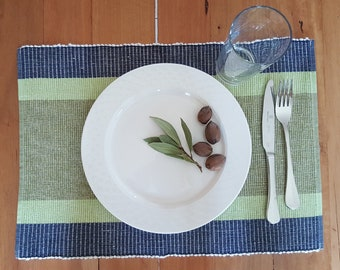 Hand Woven Placemats (Set of 4) | Woven Placemats | Place mats | Natural Dye Placemat | Green Placemats | Cotton Placemats | Table Placemats