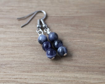 3-bead Sodalite earrings
