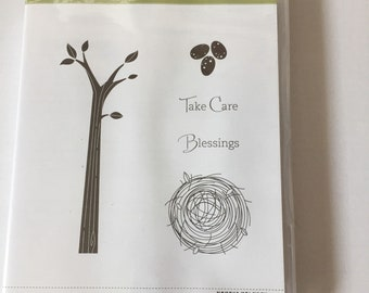 Retired Stampin' UP! Take Care stamp set branch nest eggs Blessings