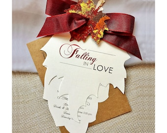 Falling in Love Wedding Invitation, Fall Wedding Invitations, Autumn Wedding Invitation Set, Leaf Invitation, Rustic Wedding Invitation Set
