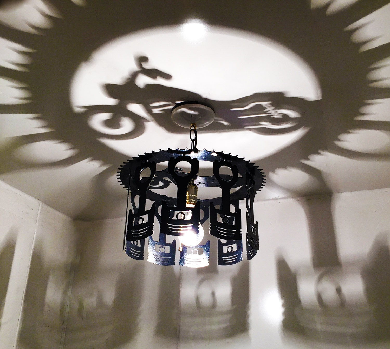 Motorcycle Shadow Light Chandelier Decor Piston Harley