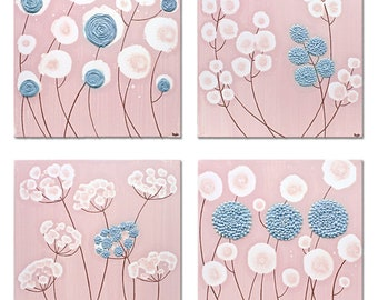 Set of Four Square Canvas Wall Art Paintings, Original Art, Textured Flowers in Pink and Blue - 25x25