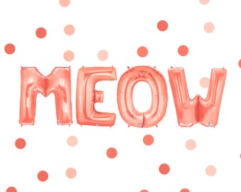 Meow Balloons Meow Banner Kitty Party Cat Birthday Meow Bachelorette Cat Party Decor Kitten Birthday Kitty Cat Party Supplies Gold Rose Gold