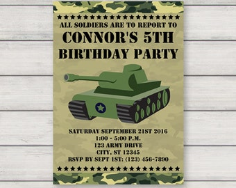 Army Invitation, Printable Birthday Party Invitation, Instant Download