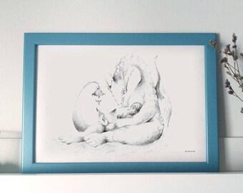 Lámina ilustrada A4 - Ilustración Infantil de Fantasía- Niño y Dragona