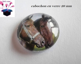 1 cabochon clear 20mm horse theme
