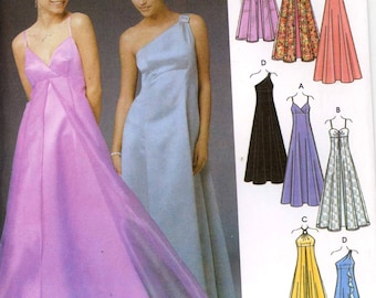Evening grad bridesmaid dress pattern for 4 styles of evening dresses Simplicity 5096 Size 6 to 10 UNCUT