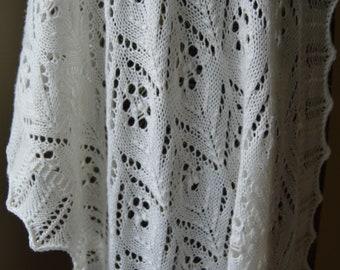 Hand Made White Estonia Beaded Knit Lace Shawl