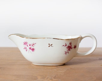 Lovely french vintage porcelain Sarreguemines sauce boat - White, gold and pink flower ceramic jewelry dish - Shabby chic