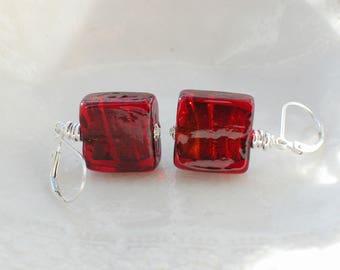 Murano Square Glass Earrings