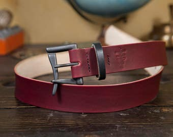 """1.5"""" OxBlood Leather Quick Release Belt with Blacked Out Buckle and Bridle Leather Keeper. Hand Stitched!"""