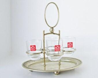 Royal Crystal Rock RCR Glasses, Silver Plated Holder Caddy Liqueur Set Mid Century barware Mad Men Bar Gift spirits sipper Italy Toscana