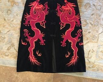 Vintage Vivienne Tam Velvet Embroidered Dragon Skirt