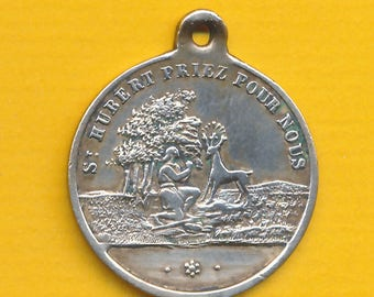 Antique brass religious medal pendant Sacred Deer and St Hubert - Holy Hubertus stag - St Roch (ref 1097)