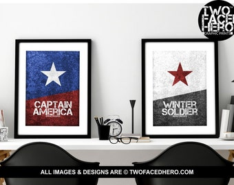 Stucky Poster Pair, 2x A4 or A3 Poster Prints,  Steve Rogers, Captain America, Bucky Barnes, Winter Soldier, Avengers, Marvel Inspired Art