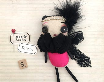 Art Doll : OOAK handcrafted doll from fabric and wire. Simone is a cute whimsical creature, collectible art toy with an artistic temperament
