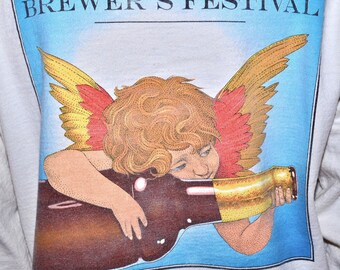 Vintage 1994 GREAT NEW ENGLAND Brewers Festival Beer Brewery Fest Long Sleeve Henley T Shirt Mens Small S Medium M
