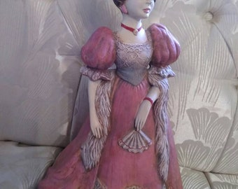 Victorian Woman Figurine  Ceramic Downton Abbey Style Free USA shipping