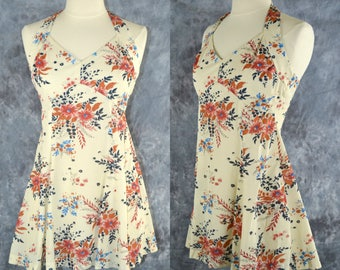 1970s Mini/Babydoll Ivory Halter Top Dress with Red, Orange and Blue Floral Print