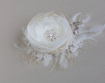 Wedding hair piece, Flower headpiece, Bridal hairpiece, Vintage hair flower, Weddiing hair accessories, Wedding headpiece, Floral headpiece