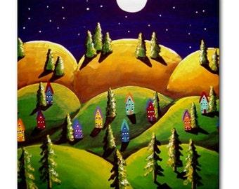 Green Gold Peaceful Landscape Whimsical Folk Art Ceramic Tile