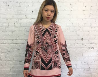vintage 60s pink top / mod long sleeve tunic shirt with psychedelic geometric print