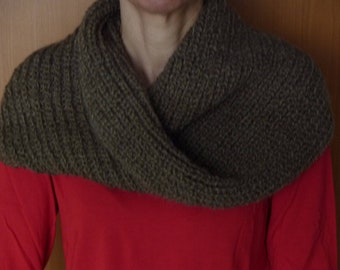 Cowl / Snood, knitted, light brown, wool