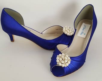 Blue Wedding Shoes with a Pearl and Crystal Brooch Blue Bridal Shoes Blue Kitten Heels 100 COLOR CHOICES Cobalt Blue Shoes Royal Blue Shoes
