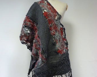 Spring sale. Artsy warm grey with red felted shawl. Perfect for Winter gift.