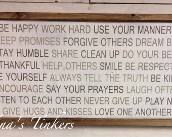 Family rules sign. Painted wood sign. Personalized family sign