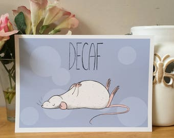 Decaf Rat Coffee Art Print, Kitchen Wall Art, Cute Rat Gift, A4 A5 Sizes, Coffee Lover, Rat Owner