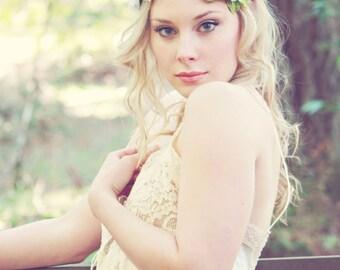 white bridal flower crown, spring flower head piece, wedding hair